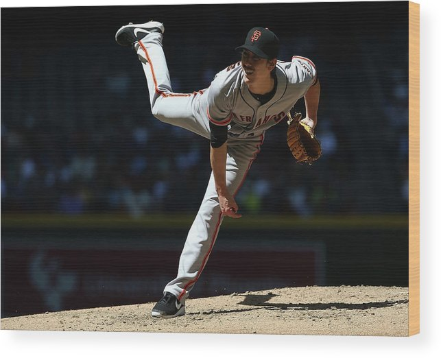Tim Lincecum Wood Print featuring the photograph Tim Lincecum by Christian Petersen