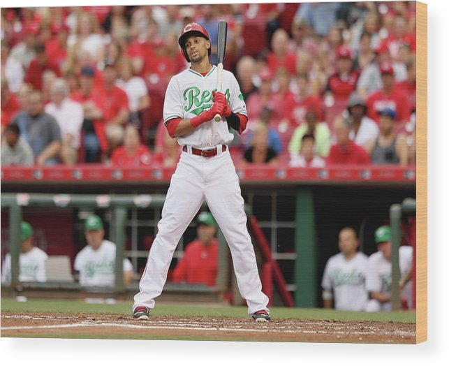 Great American Ball Park Wood Print featuring the photograph Todd Frazier and Billy Hamilton by Andy Lyons
