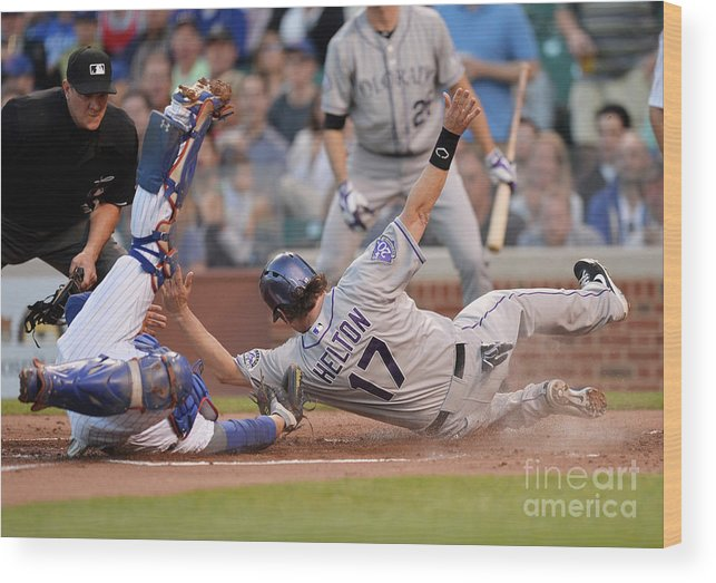 Second Inning Wood Print featuring the photograph Todd Helton, Josh Rutledge, and Welington Castillo by Brian Kersey