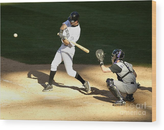 People Wood Print featuring the photograph Todd Helton, Rod Barajas, and John Patterson by Brian Bahr