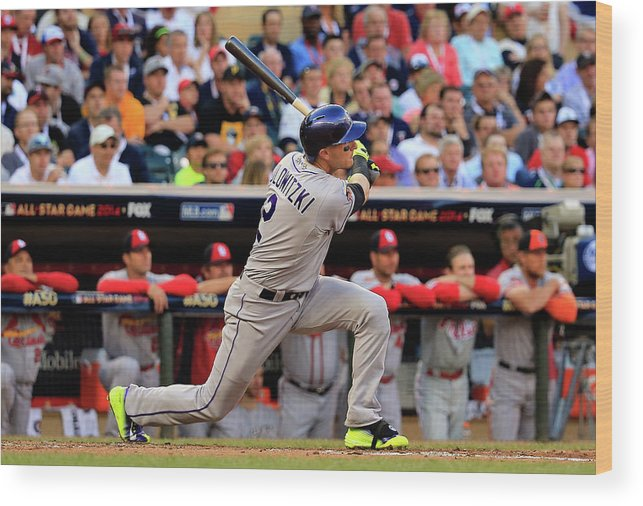 American League Baseball Wood Print featuring the photograph Troy Tulowitzki by Rob Carr