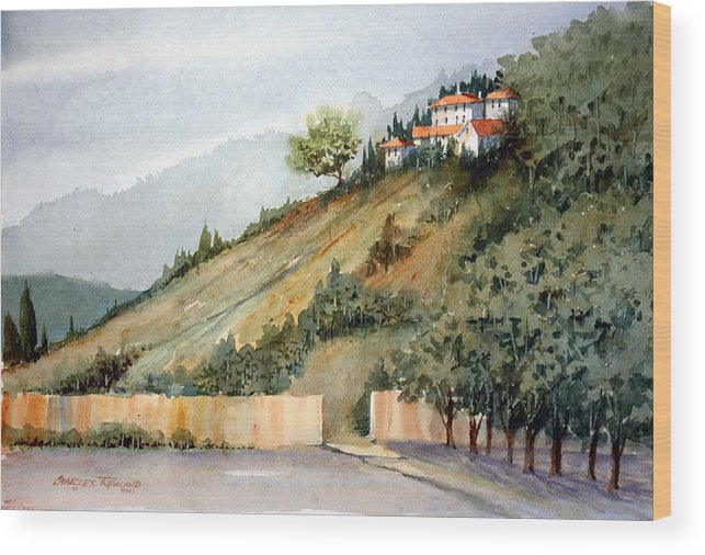 Tuscan Wood Print featuring the painting Tuscan Hills by Charles Rowland