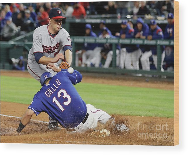 Baseball Catcher Wood Print featuring the photograph Tyler Duffey, Chris Gimenez, and Joey Gallo by Brandon Wade