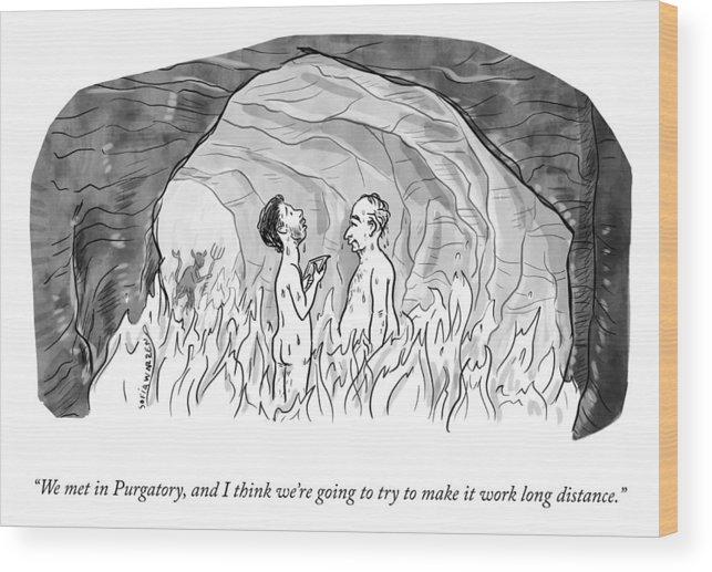 """we Met In Purgatory Wood Print featuring the drawing We Met In Purgatory by Sofia Warren"
