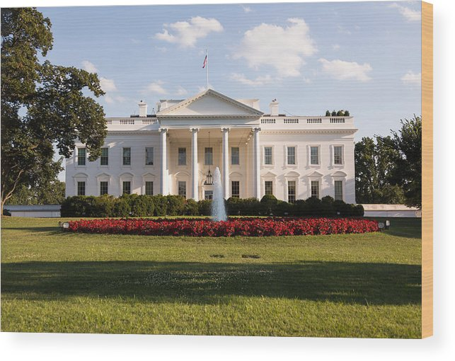 Architectural Column Wood Print featuring the photograph White House Washington DC by BackyardProduction
