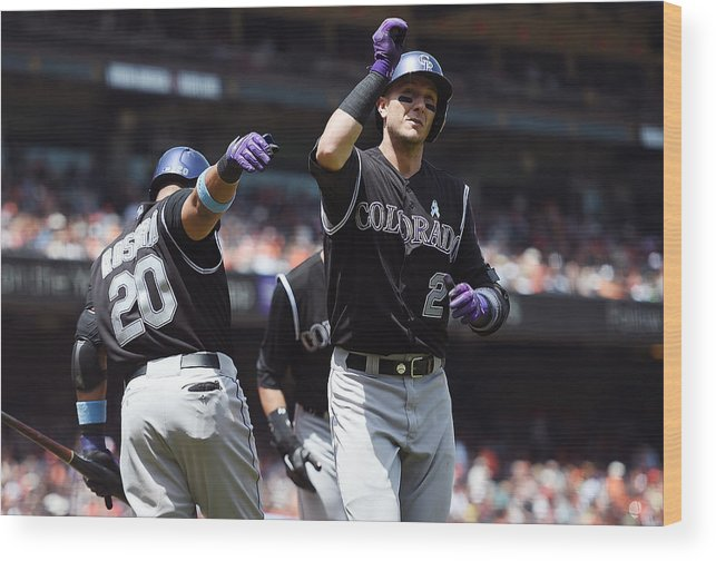 San Francisco Wood Print featuring the photograph Wilin Rosario and Troy Tulowitzki by Thearon W. Henderson