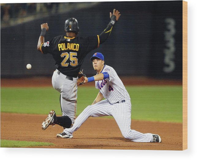 Double Play Wood Print featuring the photograph Wilmer Flores and Gregory Polanco by Jim Mcisaac
