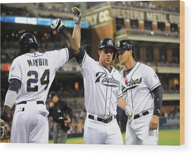 Second Inning Wood Print featuring the photograph Yasmani Grandal, Cameron Maybin, and Jedd Gyorko by Denis Poroy