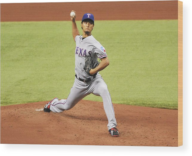 American League Baseball Wood Print featuring the photograph Yu Darvish by Al Messerschmidt