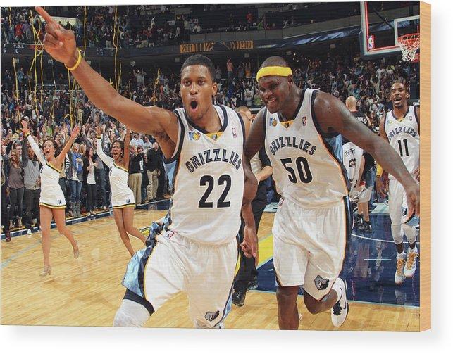 Nba Pro Basketball Wood Print featuring the photograph Zach Randolph and Rudy Gay by Joe Murphy