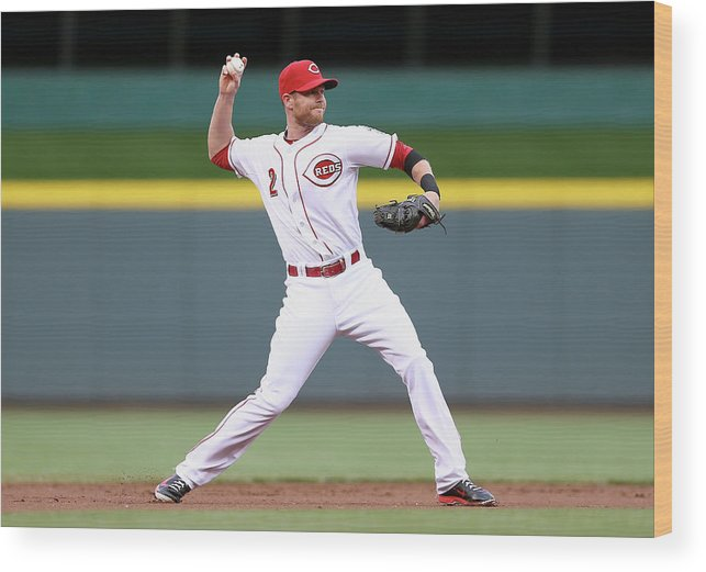 Great American Ball Park Wood Print featuring the photograph Zack Cozart by Andy Lyons