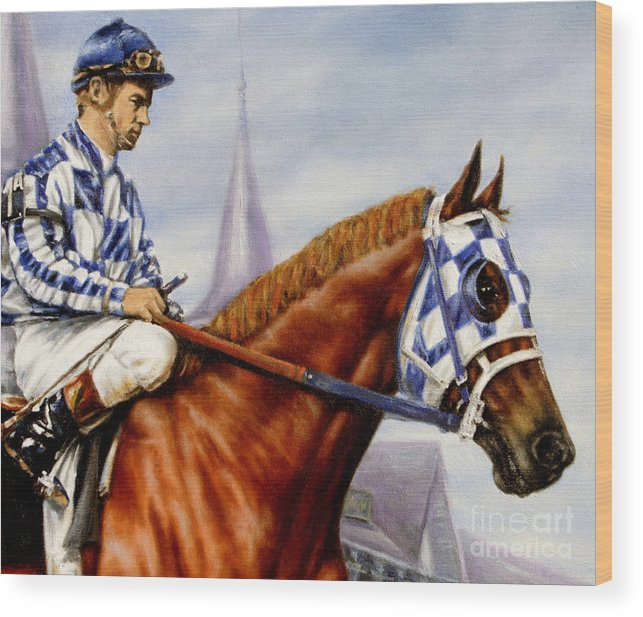 Secretariat Wood Print featuring the painting Secretariat at Churchill by Thomas Allen Pauly