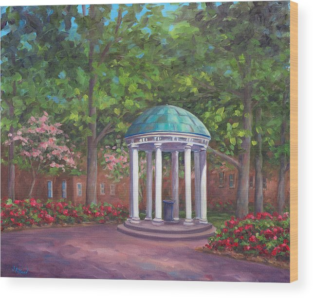 Unc Wood Print featuring the painting UNC Old Well in Spring Bloom by Jeff Pittman
