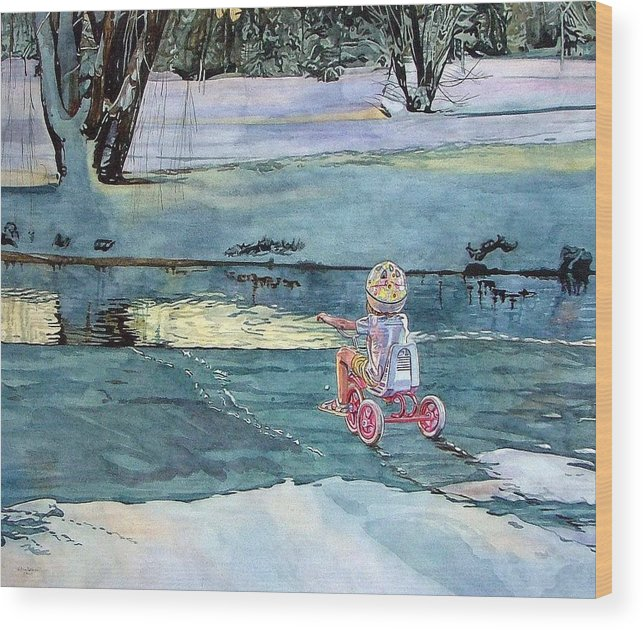 Children Wood Print featuring the painting Twilight by Valerie Patterson