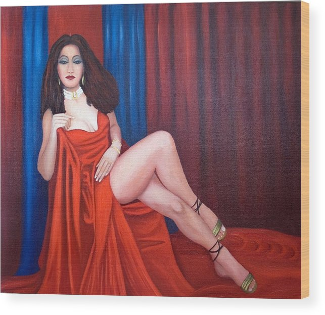 Portrait Wood Print featuring the painting Vermillion by Stephen Degan