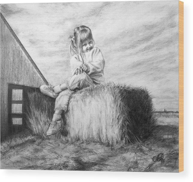 Farm Wood Print featuring the drawing Farm Girl by Arthur Fix