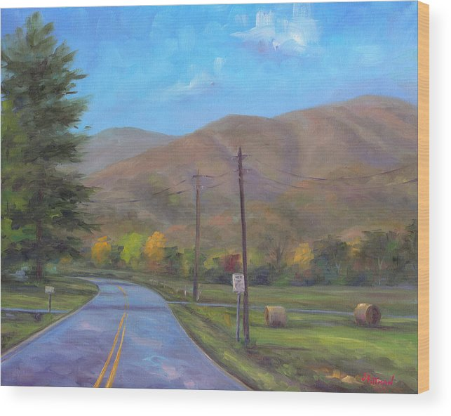 Cold Mountain Wood Print featuring the painting Road to Cold Mountain by Jeff Pittman