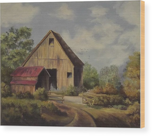 Landscape Wood Print featuring the painting The Deserted Barn by Wanda Dansereau