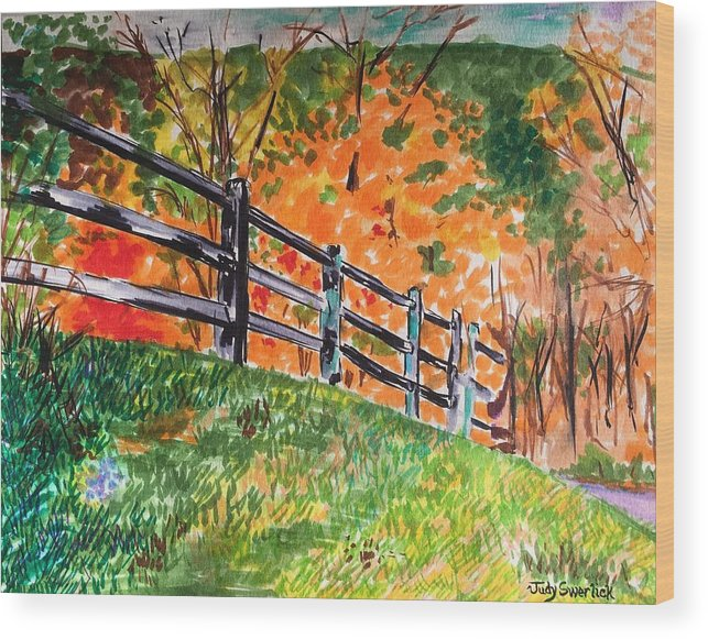 Autumn Wood Print featuring the painting An Autumn Stroll in the Woods by Judy Swerlick