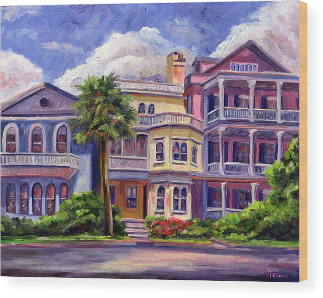 Colorful Historic Houses On The Charleston South Battery With Pastel Color And Blue Skies.. Wood Print featuring the painting Charleston Houses by Jeff Pittman