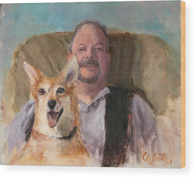 Portraits Wood Print featuring the painting Dans Best Friend by Chris Neil Smith
