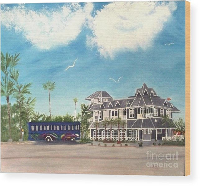 Florida Painting Wood Print featuring the painting Hurricane Restaurant Pass A Grill Florida by Peggy Holcroft