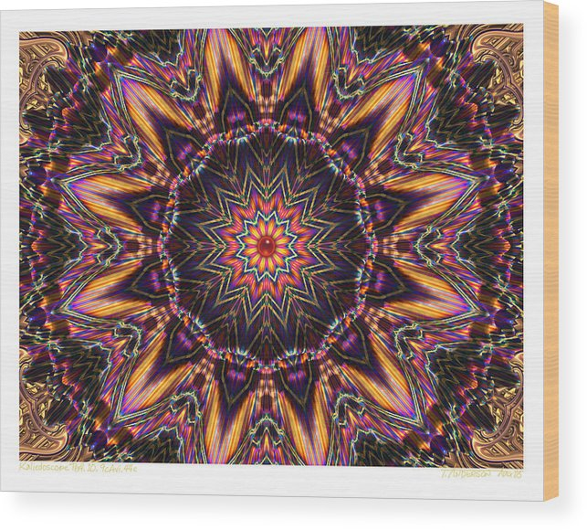Kaleidoscopes; Mandala Images; Autumn Colors; Kaleidoscopic Art Wood Print featuring the digital art kaleido Perf10 9cAvi 44 by Terry Anderson