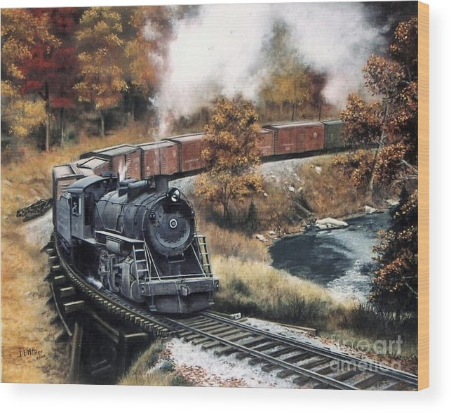 Train Painting Railroad Maryland And Pennsylvania Autumn Fall Colors Steam Engine Wood Print featuring the painting MaPa by David Mittner