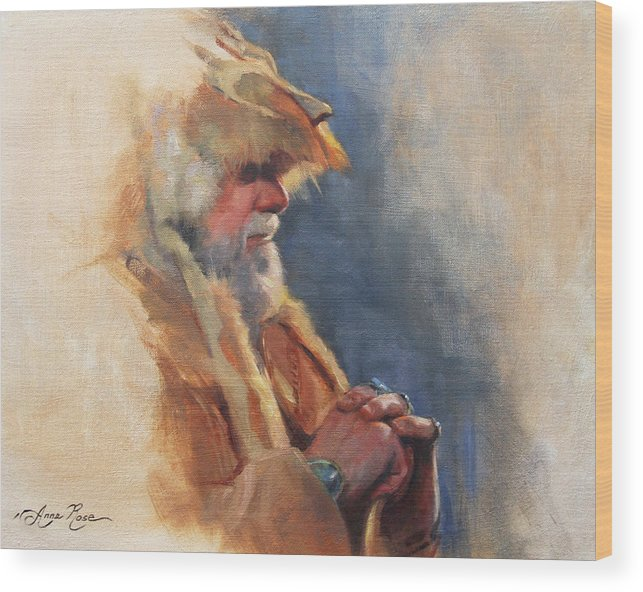Mountain Wood Print featuring the painting Mountain Man by Anna Bain