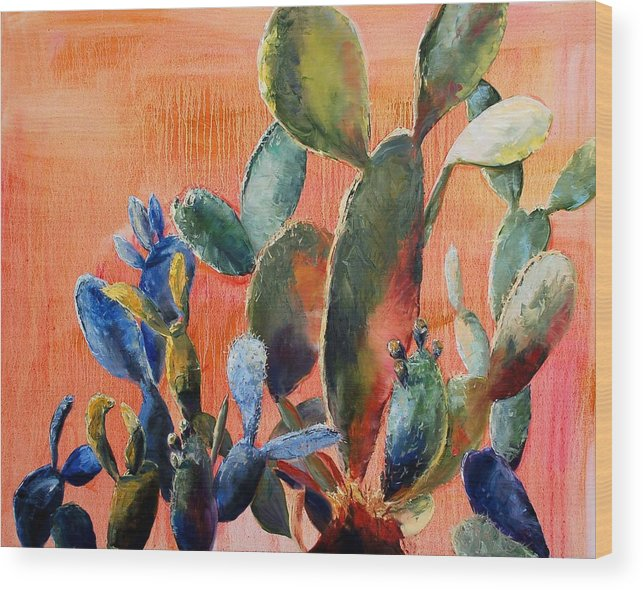 Cactus Wood Print featuring the painting Prickly Pear by Lynee Sapere