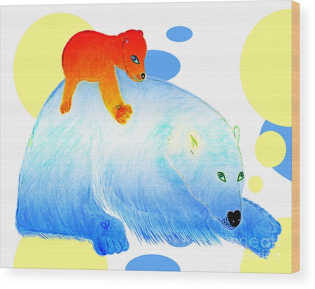 Bears Wood Print featuring the painting Ruby and Apple by Tess M J Iroldi