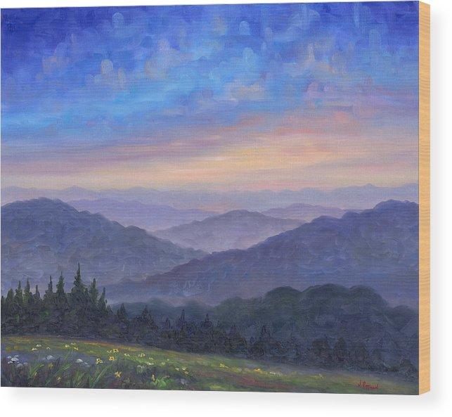 Smoky Mountain Wood Print featuring the painting Smoky Mountain Wildflowers by Jeff Pittman
