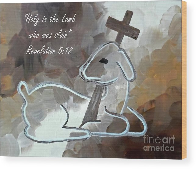 Spotless Lamb with Scripture by Jilian Cramb - AMothersFineArt