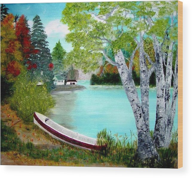 Beautiful Bracebridge Ontario Oil Painting Wood Print featuring the painting Summer In The Muskoka's by Peggy Holcroft