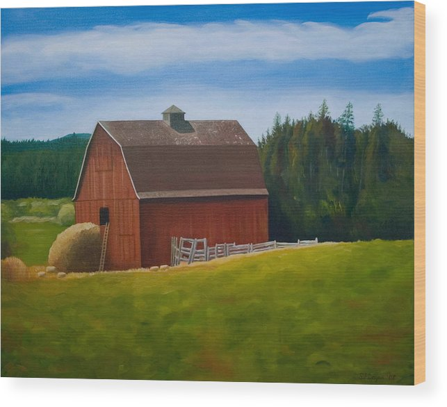 Landscape Wood Print featuring the painting Whidbey Island Barn by Stephen Degan