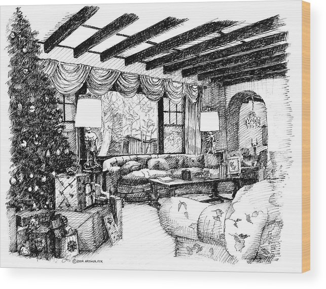 Christmas Wood Print featuring the drawing Christmas Home by Arthur Fix