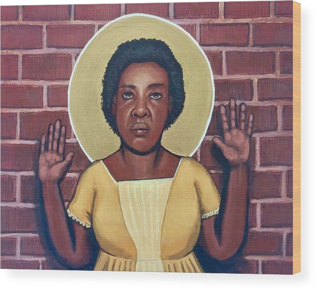 Wood Print featuring the painting Fannie Lou Hamer by Kelly Latimore