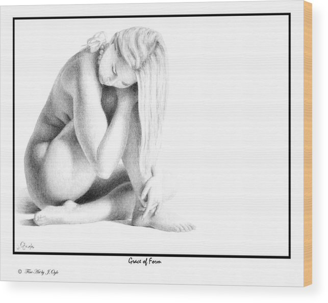 Print Wood Print featuring the drawing Grace Of Form print only by Joseph Ogle