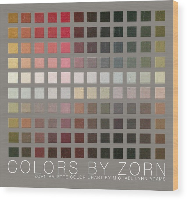 Zorn Color Palette Wood Print featuring the painting Colors By Zorn by Michael Lynn Adams