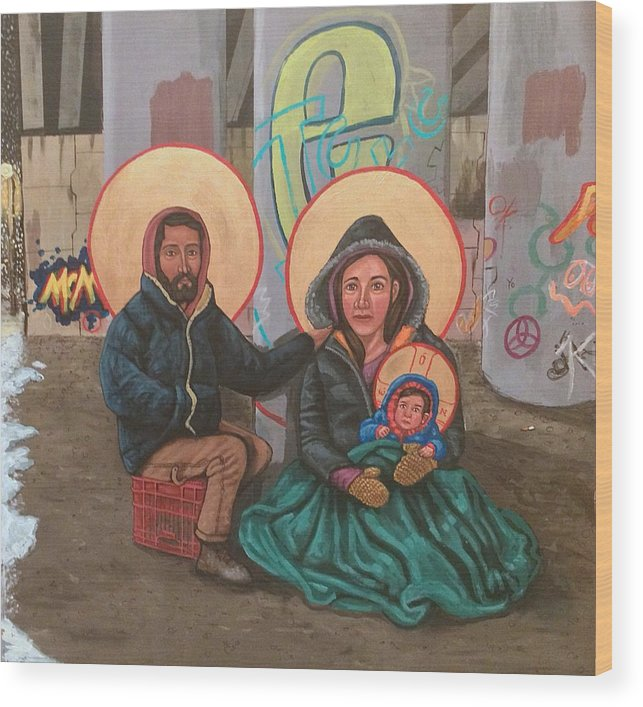 Wood Print featuring the painting Holy Family of the Streets by Kelly Latimore