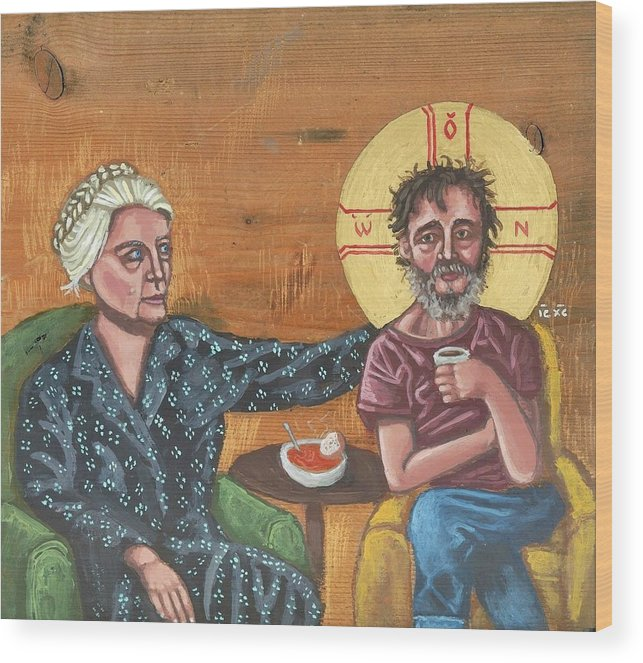 Dorothy Day Wood Print featuring the painting Don't Call Me a Saint- Dorothy day with Homeless Christ by Kelly Latimore
