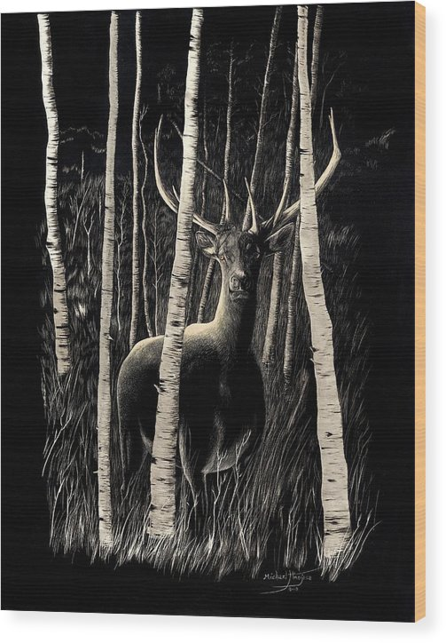 Elk Wood Print featuring the drawing Ghost by Mike Hinojosa