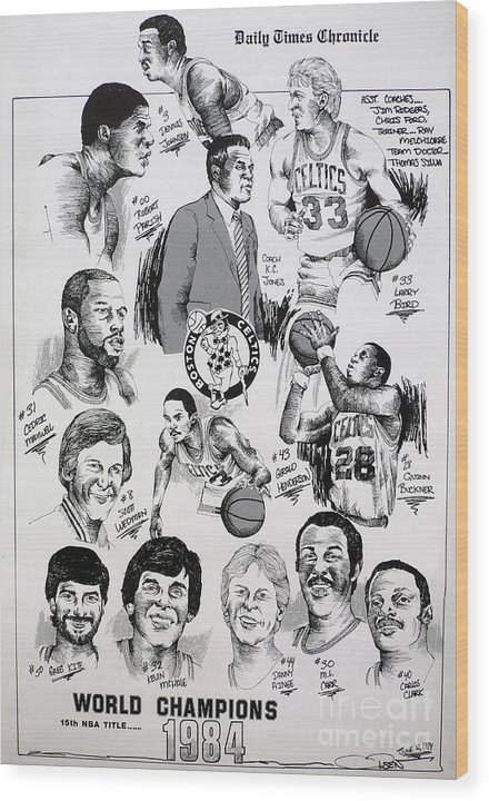 Nba Wood Print featuring the drawing 1984 Boston Celtics Championship Newspaper Poster by Dave Olsen