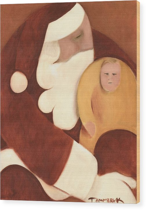 Santa Claus Wood Print featuring the painting Santa's Lap Art Print by Tommervik