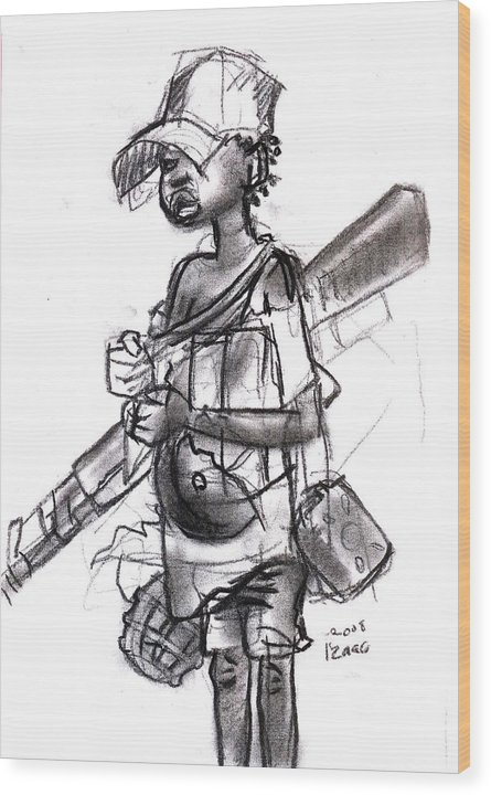 Wood Print featuring the drawing Plight Of A Child Soldier by Okwir Isaac