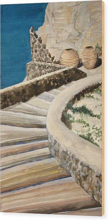 Watercolor Wood Print featuring the painting Greekscape 3 by Caron Sloan Zuger
