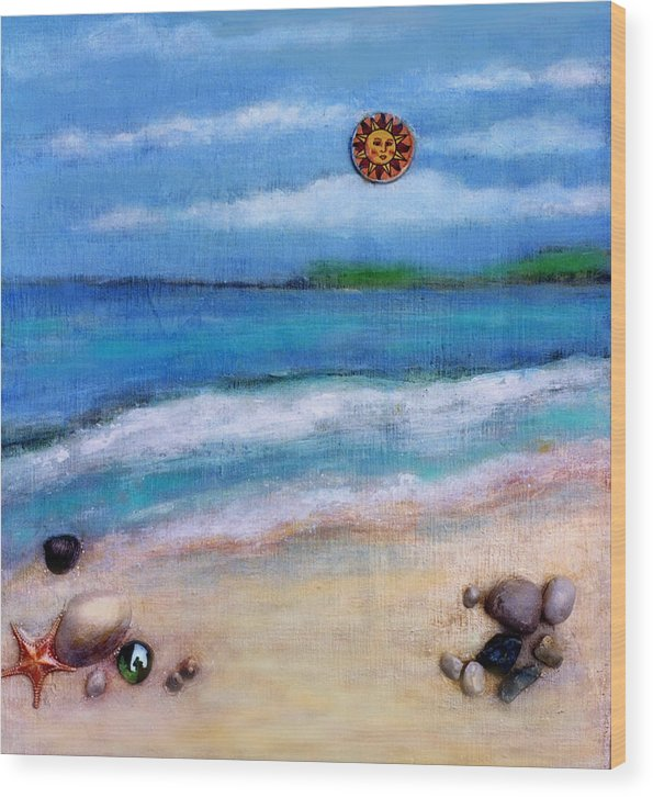 Beach Wood Print featuring the painting Three Beaches A by Mary Ann Leitch