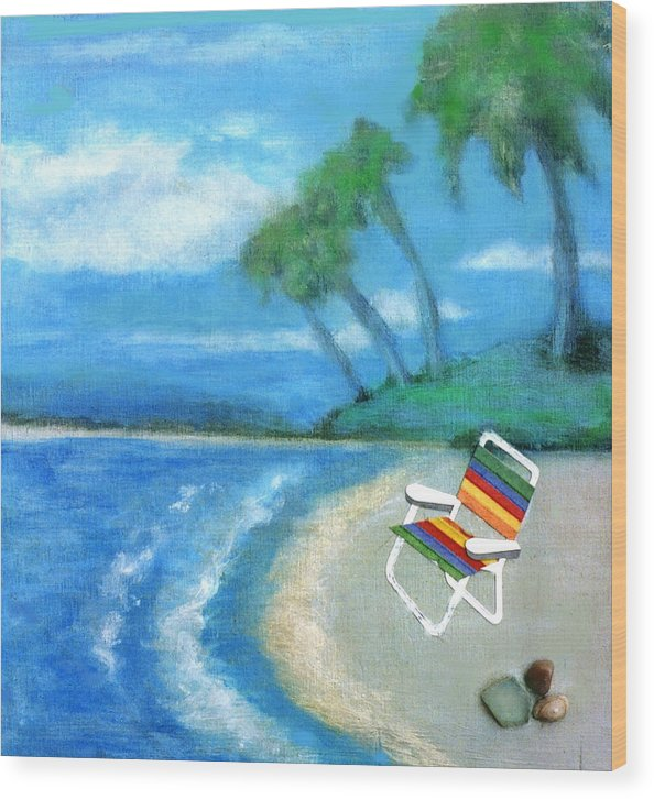 Beach Wood Print featuring the painting Three Beaches B by Mary Ann Leitch