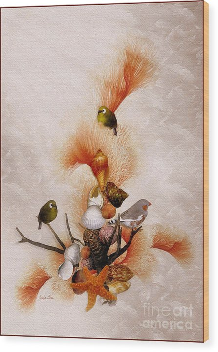Shells Birds Seashore Tropical Coastal Peach Starfish Wood Print featuring the painting Morning Song by Carolyn Staut