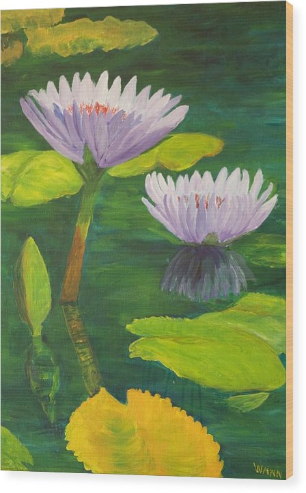 Flower Wood Print featuring the painting Water Lilies by Anita Wann
